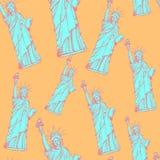 Skizzieren Sie Freiheitsstatuen, nahtloses Muster des Vektors Lizenzfreie Stockfotos