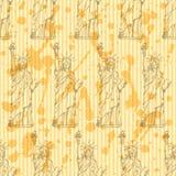 Skizzieren Sie Freiheitsstatuen, nahtloses Muster des Vektors Lizenzfreie Stockbilder