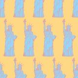 Skizzieren Sie Freiheitsstatuen, nahtloses Muster des Vektors Stockbilder