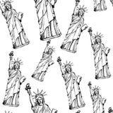 Skizzieren Sie Freiheitsstatuen, nahtloses Muster des Vektors Stockfotografie