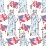 Skizzieren Sie Freiheitsstatuen und Flagge, nahtloses Muster Stockfoto