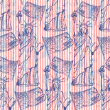 Skizzieren Sie Freiheitsstatuen und Flagge, nahtloses Muster Lizenzfreie Stockfotos