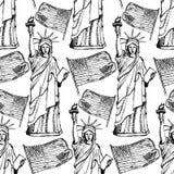 Skizzieren Sie Freiheitsstatuen und Flagge, nahtloses Muster Stockfotos