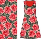 Skizzieren Sie Grüngewebe des Sommers weibliches Kleidermit roten Rosen und grünen Sie Blätter im schäbigen Chic der Art, Provenc Stockbilder