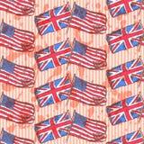 Skizzieren Sie Großbritannien- und USA-Flaggen, nahtloses Muster Lizenzfreies Stockfoto