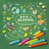 Skizzieren Sie Hand gezeichnete Bildungsikonen und bunte Bleistiftidee Stockfotos