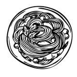 Skizzieren Sie Hand gezeichnete Spaghettiteigwaren, Draufsicht Lizenzfreies Stockfoto