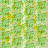 Skizzieren Sie Klee, nahtloses Muster des Vektors, St- Patricktag-symbo Stockbild