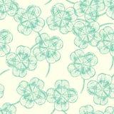 Skizzieren Sie Klee, Vektorhintergrund, St- Patricktag Lizenzfreies Stockbild