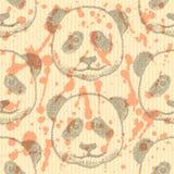 Skizzieren Sie Kopf des Pandas, nahtloses Muster des Vektors Lizenzfreie Stockbilder