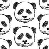 Skizzieren Sie Kopf des Pandas, nahtloses Muster des Vektors Lizenzfreie Stockfotos