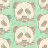 Skizzieren Sie Panda mit dem Schnurrbart, nahtloses Muster des Vektors Stockfoto