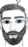 Skizzieren Sie Porträt des männlichen Gesichtes mit blauen Augen Vektorbild, eigenhändig gezeichnet Lizenzfreies Stockfoto