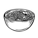 Skizzieren Sie Reis in der gezeichneten Illustration der Schüssel/der Karikatur Hand, Schwarzweiss, Tinte, Skizzenart Lizenzfreies Stockfoto