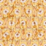 Skizzieren Sie Sanduhr, nahtloses Muster der Vektorweinlese Stockbild