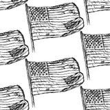 Skizzieren Sie Sanduhr, nahtloses Muster der Vektorweinlese Stockbilder