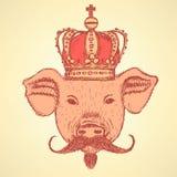 Skizzieren Sie Schwein in der Krone mit dem Schnurrbart, Vektorhintergrund Stockbild