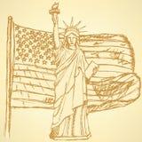 Skizzieren Sie USA-Flagge und Freiheitsstatuen, Vektorhintergrund Lizenzfreies Stockbild