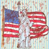 Skizzieren Sie USA-Flagge und Freiheitsstatuen, Vektorhintergrund Stockfoto