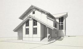 Skizzieren Sie Ziegelstein- und Bauholzhaus stock abbildung
