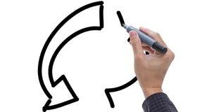 Skizzierendes Symbol des Mannes von bereiten gehen Grün auf whiteboard Hintergrund auf stock footage