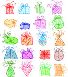 Skizziert Geschenkpakete Stockfoto