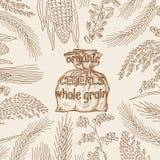 Skizzierte Hand gezeichnete Getreide, Mehl im Leinwandsack Stockfotos