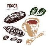 Skizzierte Illustration der Kakaobohne Stockfotografie