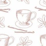 Skizzierte Kaffeetasse mit nahtlosem Muster des Vanilleblumen-Entwurfs Stockbilder