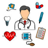 Skizzierte medizinische Ikonen und Doktor Lizenzfreie Stockfotos
