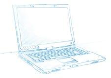 Skizzierter Laptop lizenzfreie abbildung