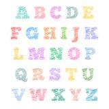 Skizziertes Alphabet, stilisierte Buchstaben, ausgebrüteter Guss Stockfoto
