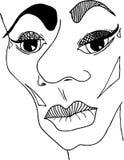 Skizziertes Fantasieporträt des Gesichtes Vektorbild, eigenhändig gezeichnet Lizenzfreie Stockbilder