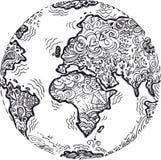 Skizziertes Gekritzel des Planeten Erde Stockfoto