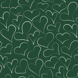 Skizziertes nahtloses Muster des Entwurfskreide-Herzens Stockfotos