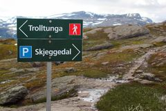 Signpost showing direction to Trolltunga, Norway royalty free stock photo