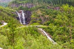 Skjervsfossen瀑布在霍达兰,挪威 库存照片