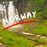 Skjervsfossen vattenfall - Norge Royaltyfri Bild