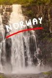 Skjervsfossen vattenfall - Norge Royaltyfri Fotografi
