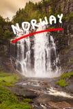 Skjervsfossen vattenfall - Norge Arkivbilder