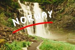 Skjervsfossen vattenfall - Norge Royaltyfria Foton