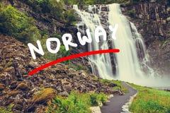 Skjervsfossen vattenfall - Norge Royaltyfria Bilder