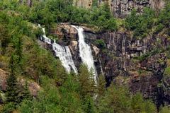 Skjervsfossen waterfall in Hordaland county, Norway.  stock photo