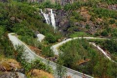 Skjervsfossen waterfall in Hordaland county, Norway.  stock image