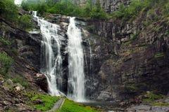 Skjervsfossen waterfall in Hordaland county, Norway.  royalty free stock photography