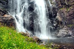 Skjervsfossen waterfall in Hordaland county, Norway.  royalty free stock images