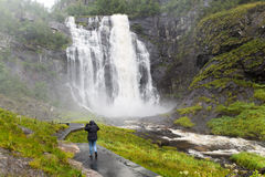 Skjervsfossen waterfall in  Norway Stock Photo