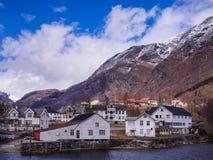 Skjolden村庄在挪威 免版税库存图片