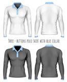 skjorta för krage för Tre-knapp placketpolo vektor illustrationer
