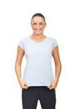 skjorta t för gullig kvinnlig för bomull grå Royaltyfria Foton